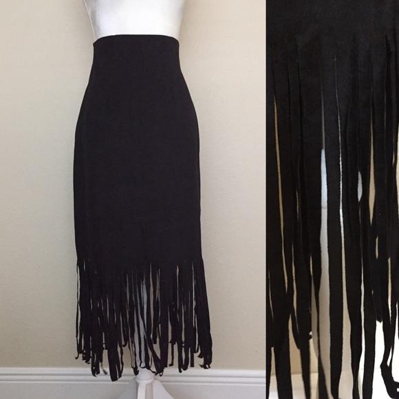 Vintage Dresses & Skirts - Vintage High Waisted Fringe Skirt